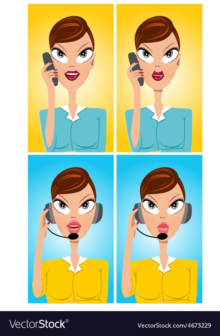 Facial expressions of cartoon operator vector | Price: 1 Credit (USD $1)