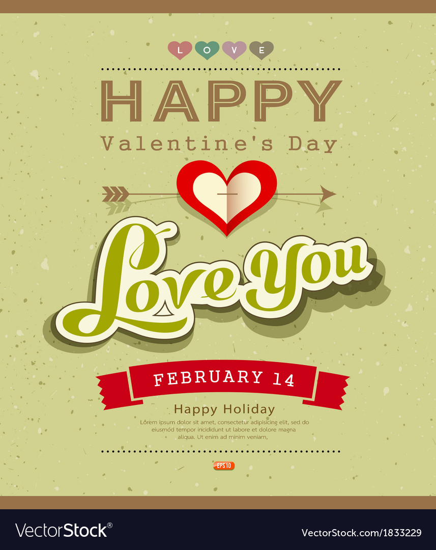 Happy valentine message on recycled paper backgrou vector | Price: 1 Credit (USD $1)