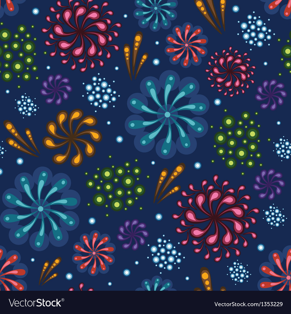 Holiday fireworks seamless pattern background vector | Price: 1 Credit (USD $1)