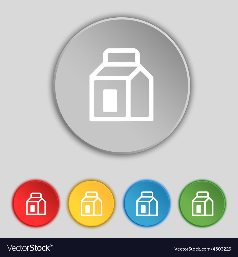 Milk juice beverages carton package icon sign vector | Price: 1 Credit (USD $1)