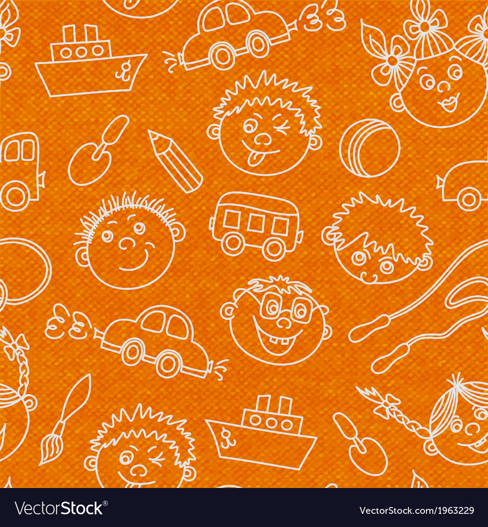 Seamless kids faces and toys pattern background vector | Price: 1 Credit (USD $1)