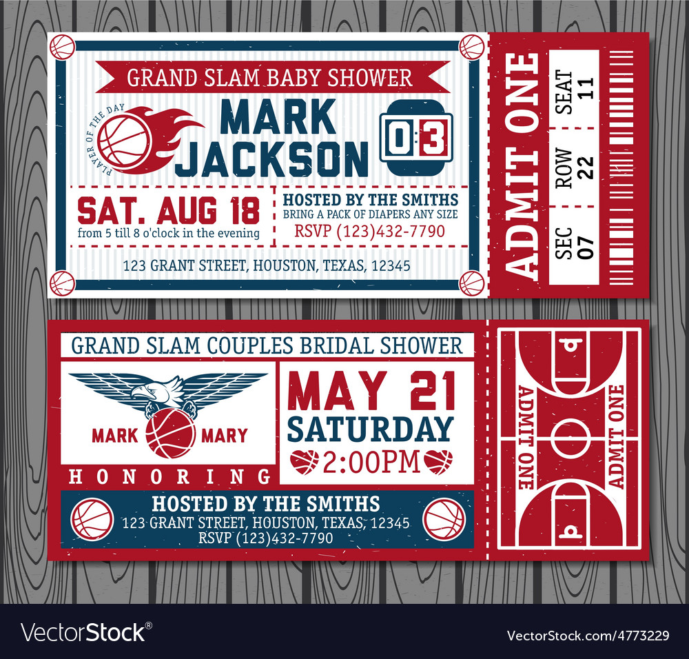 Set of vintage basketball tickets vector | Price: 3 Credit (USD $3)