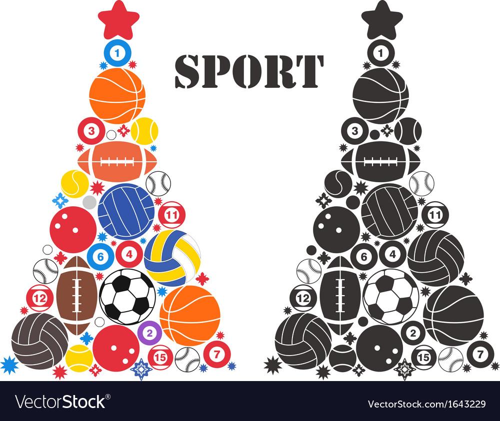 Unusual christmas tree sport vector | Price: 1 Credit (USD $1)