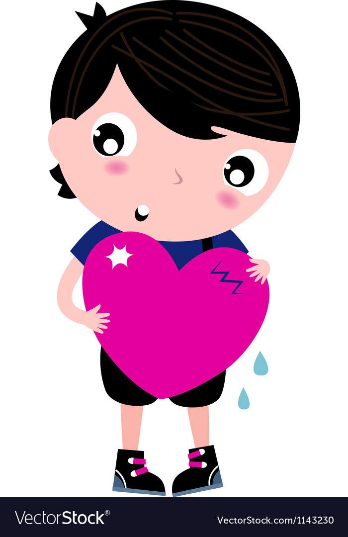 Cute emo boy holding heart isolated on white vector | Price: 1 Credit (USD $1)