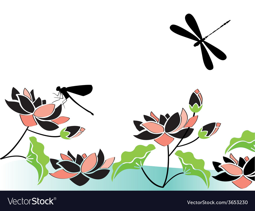 Dragonflies-and-flowers vector   Price: 1 Credit (USD $1)