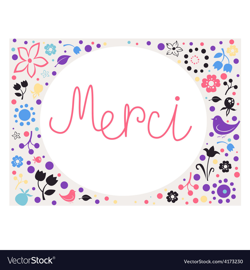 Floral card merci vector | Price: 1 Credit (USD $1)