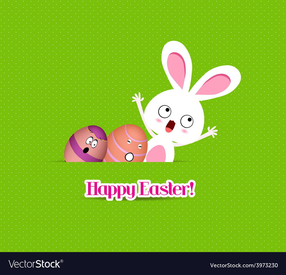 Happy easter eggs and bunny funny greeting card vector | Price: 1 Credit (USD $1)