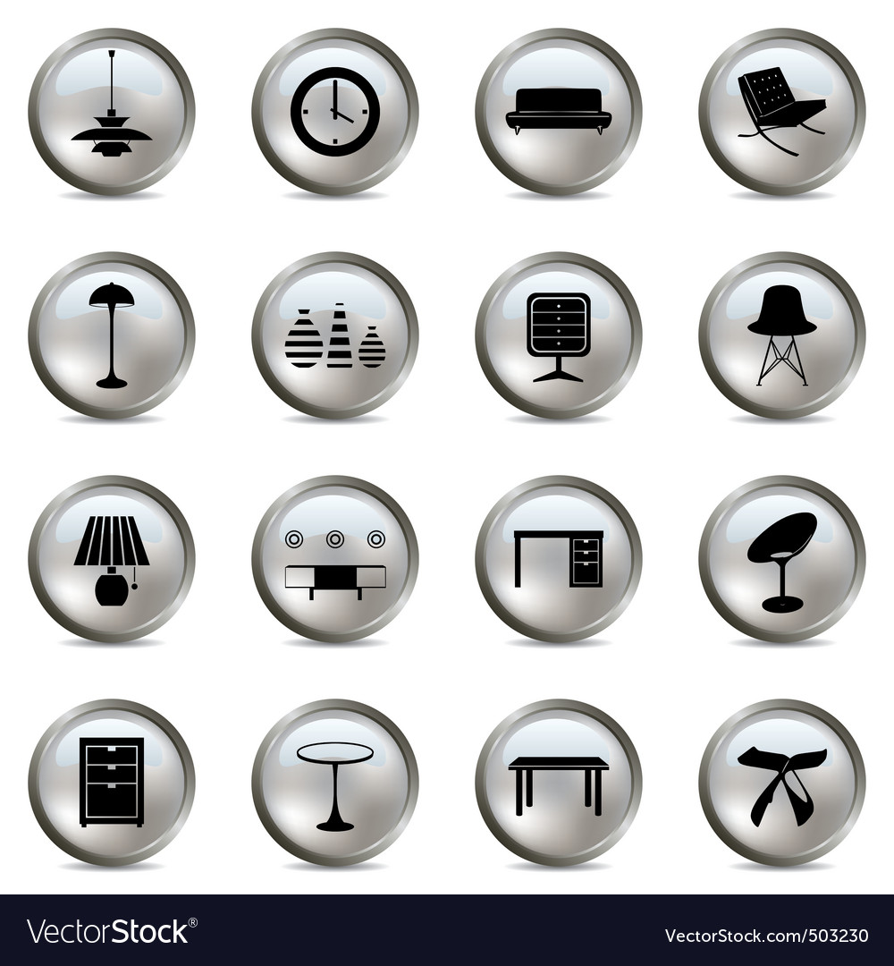 Home interior icons vector | Price: 1 Credit (USD $1)