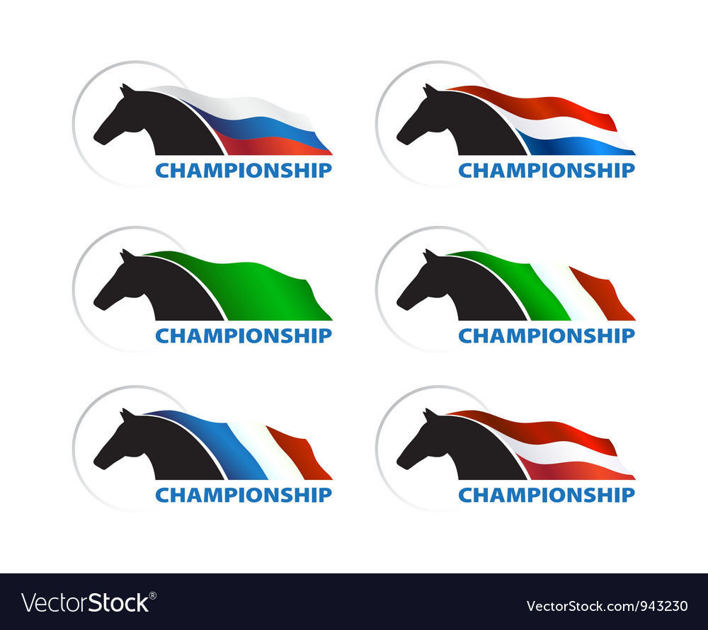 Horse with flag on white background vector | Price: 1 Credit (USD $1)