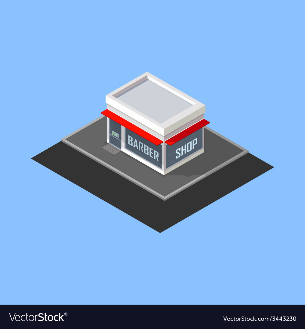 Isometric barber shop building vector | Price: 1 Credit (USD $1)