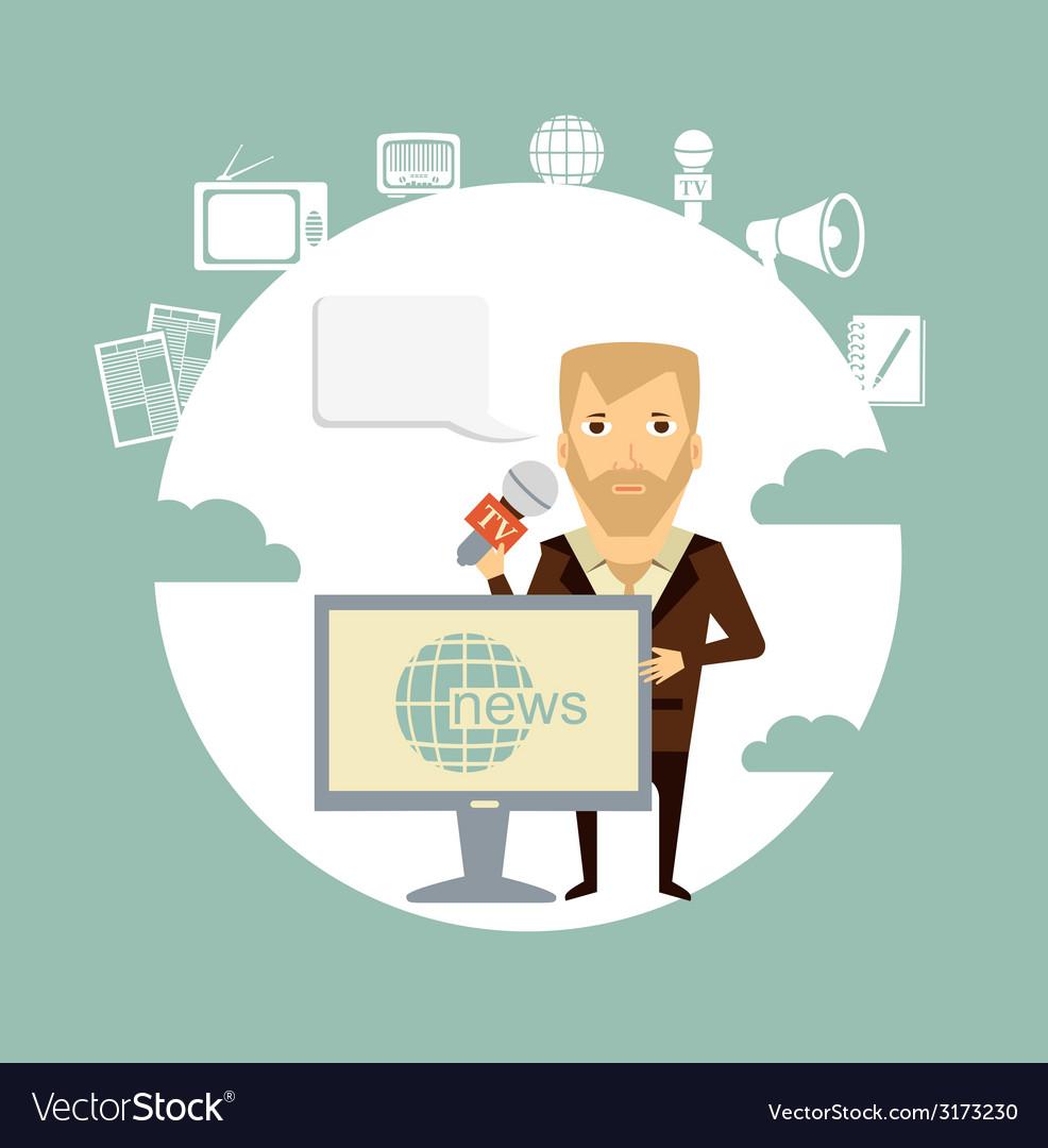 Journalist says tv news vector | Price: 1 Credit (USD $1)