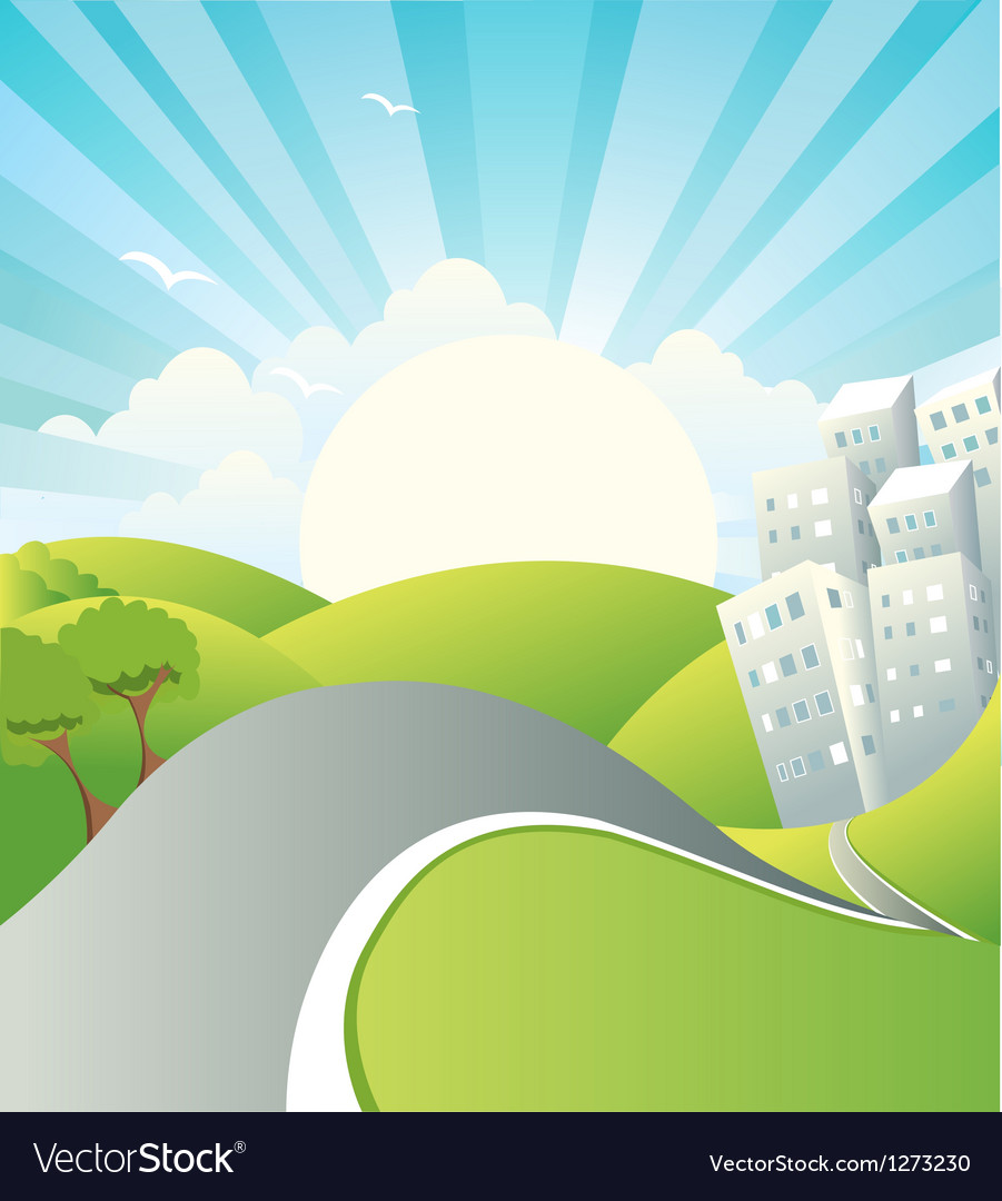 Landscape with road vector | Price: 1 Credit (USD $1)