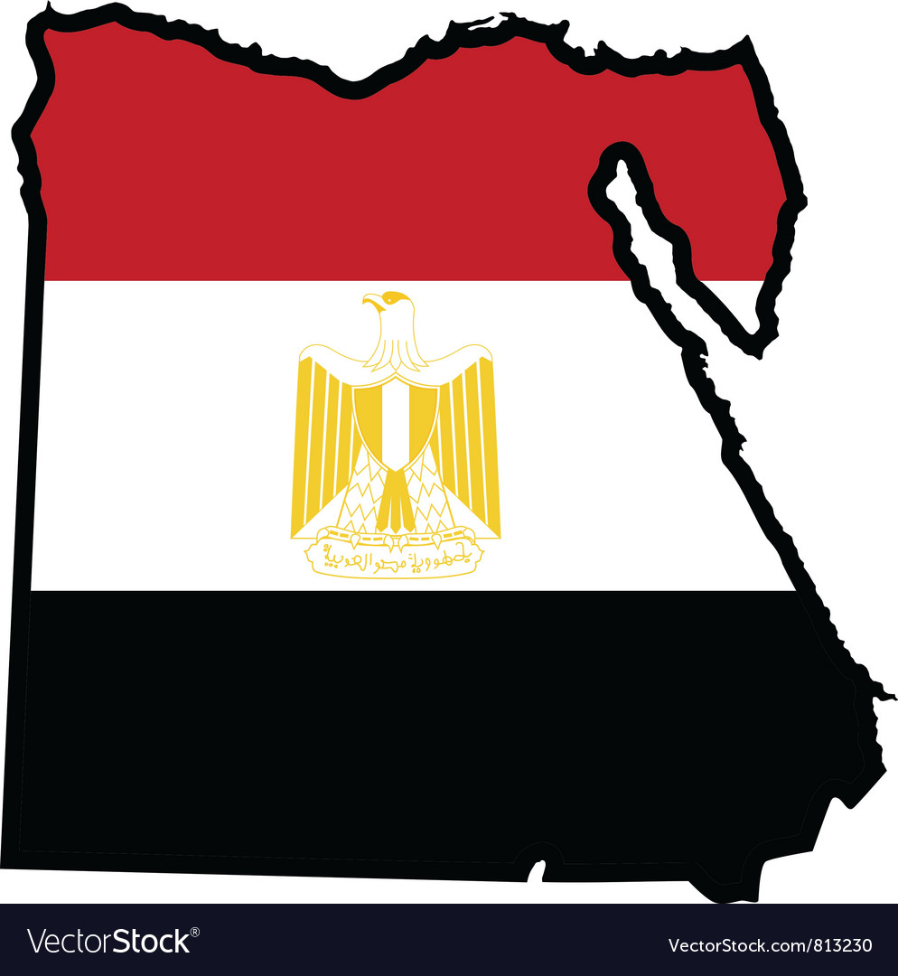 Map in colors of egypt vector | Price: 1 Credit (USD $1)