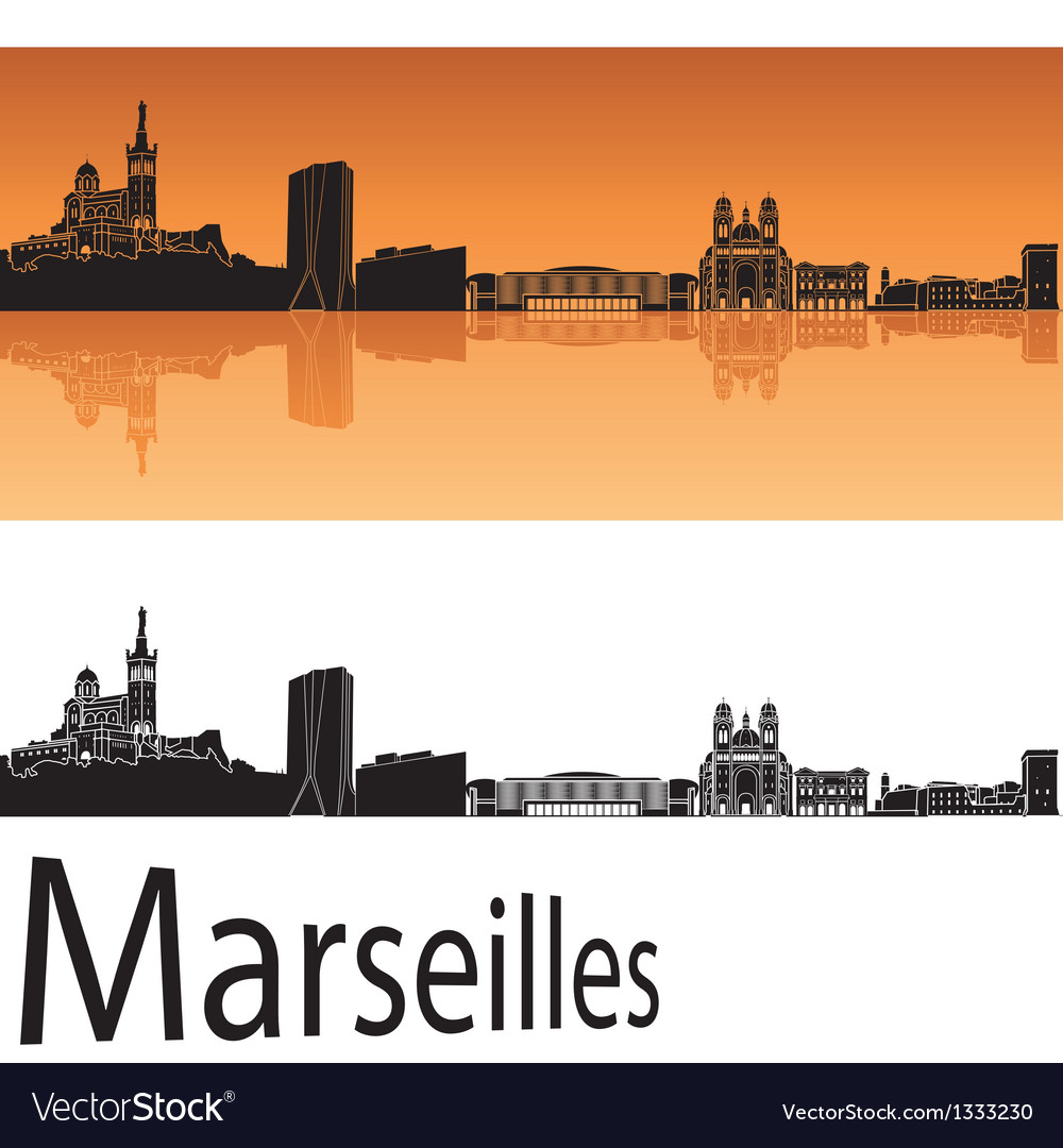 Marseilles skyline in orange background vector | Price: 1 Credit (USD $1)