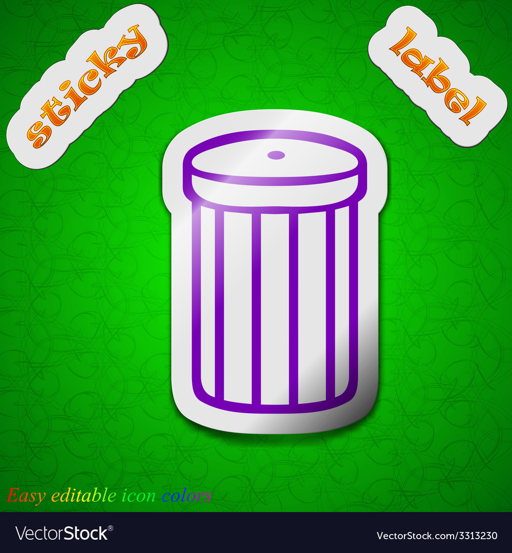 Recycle bin icon sign symbol chic colored sticky vector | Price: 1 Credit (USD $1)