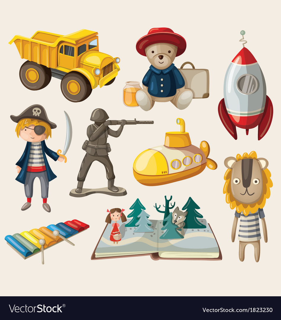 Set of old-fashioned toys vector | Price: 3 Credit (USD $3)
