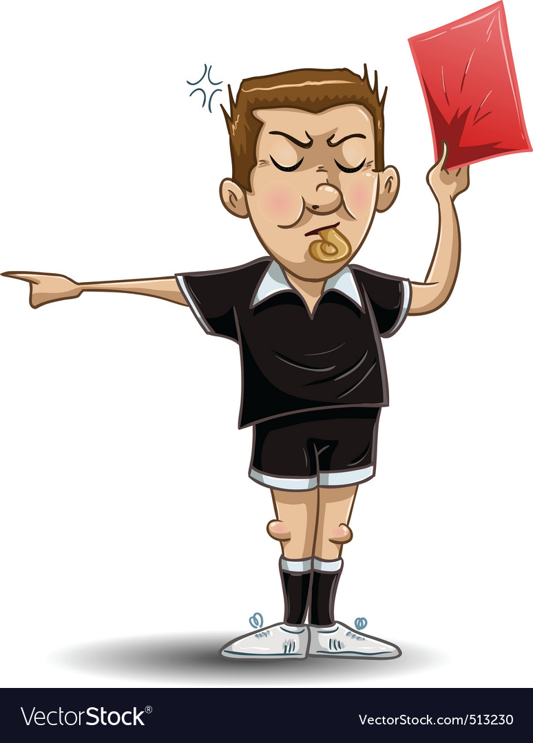 Soccer referee holds red card vector