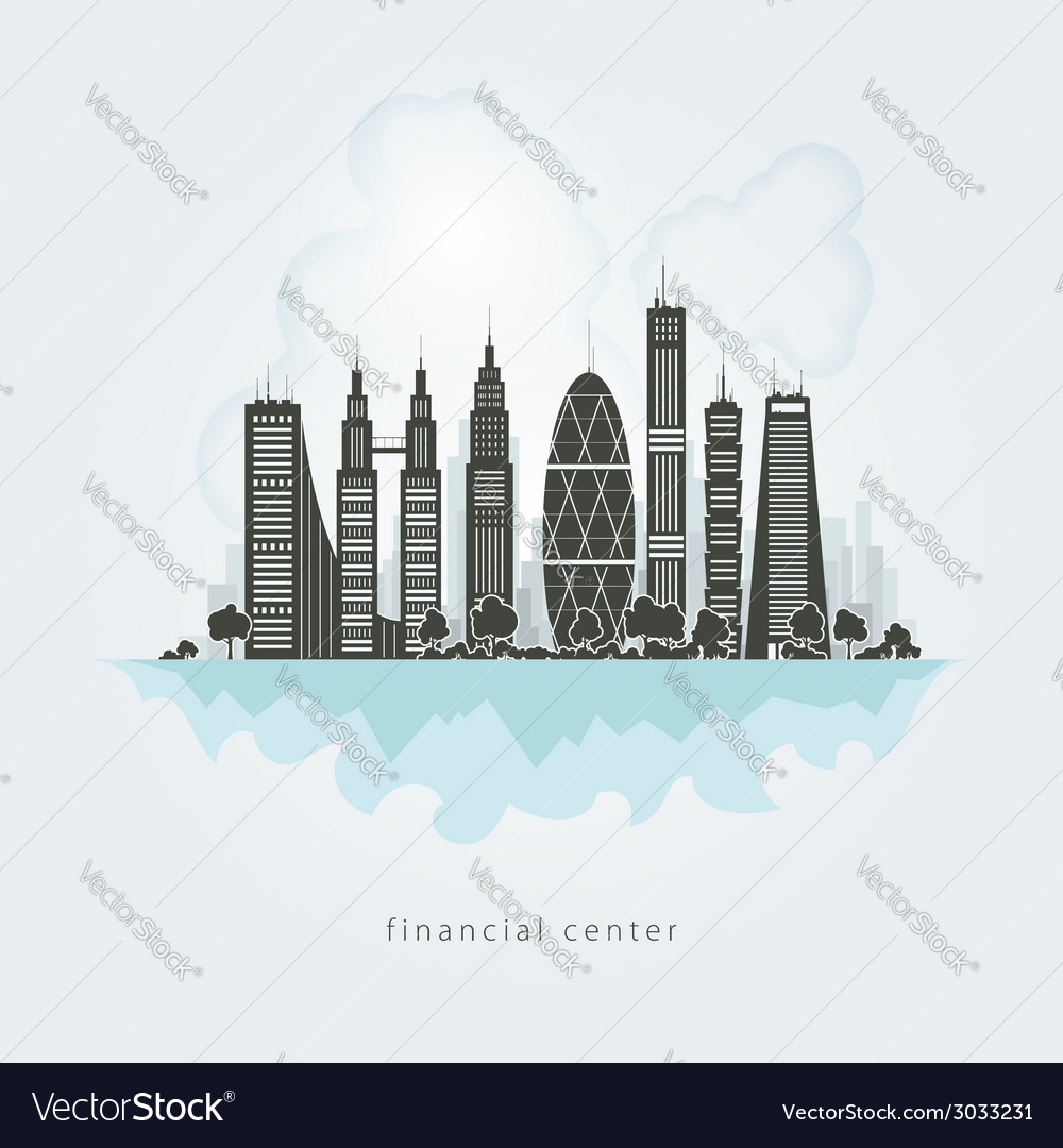 City financial center vector | Price: 1 Credit (USD $1)