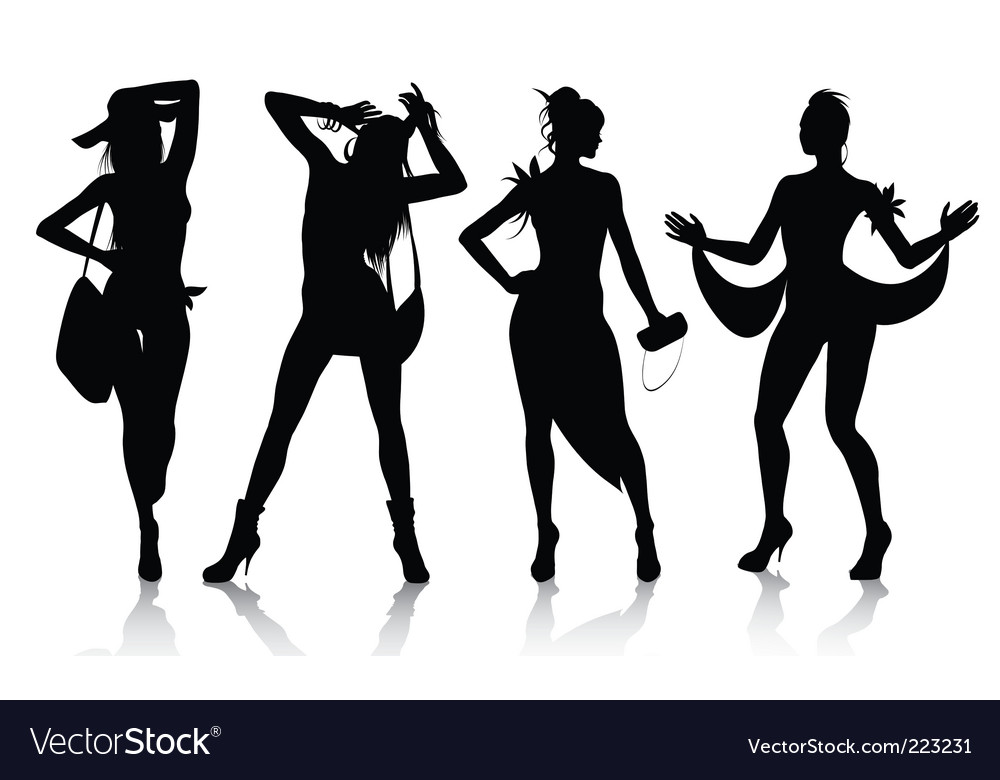 Fashion model silhouettes vector | Price: 1 Credit (USD $1)
