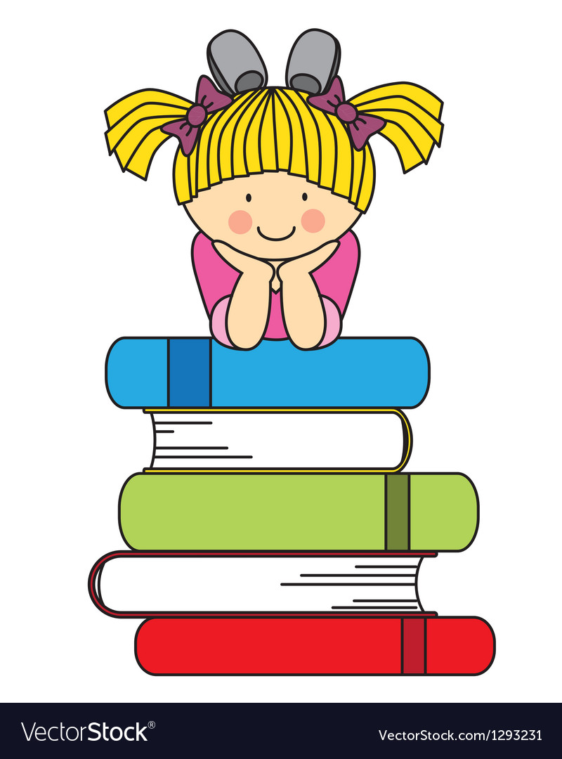 Little girl with many books vector | Price: 1 Credit (USD $1)