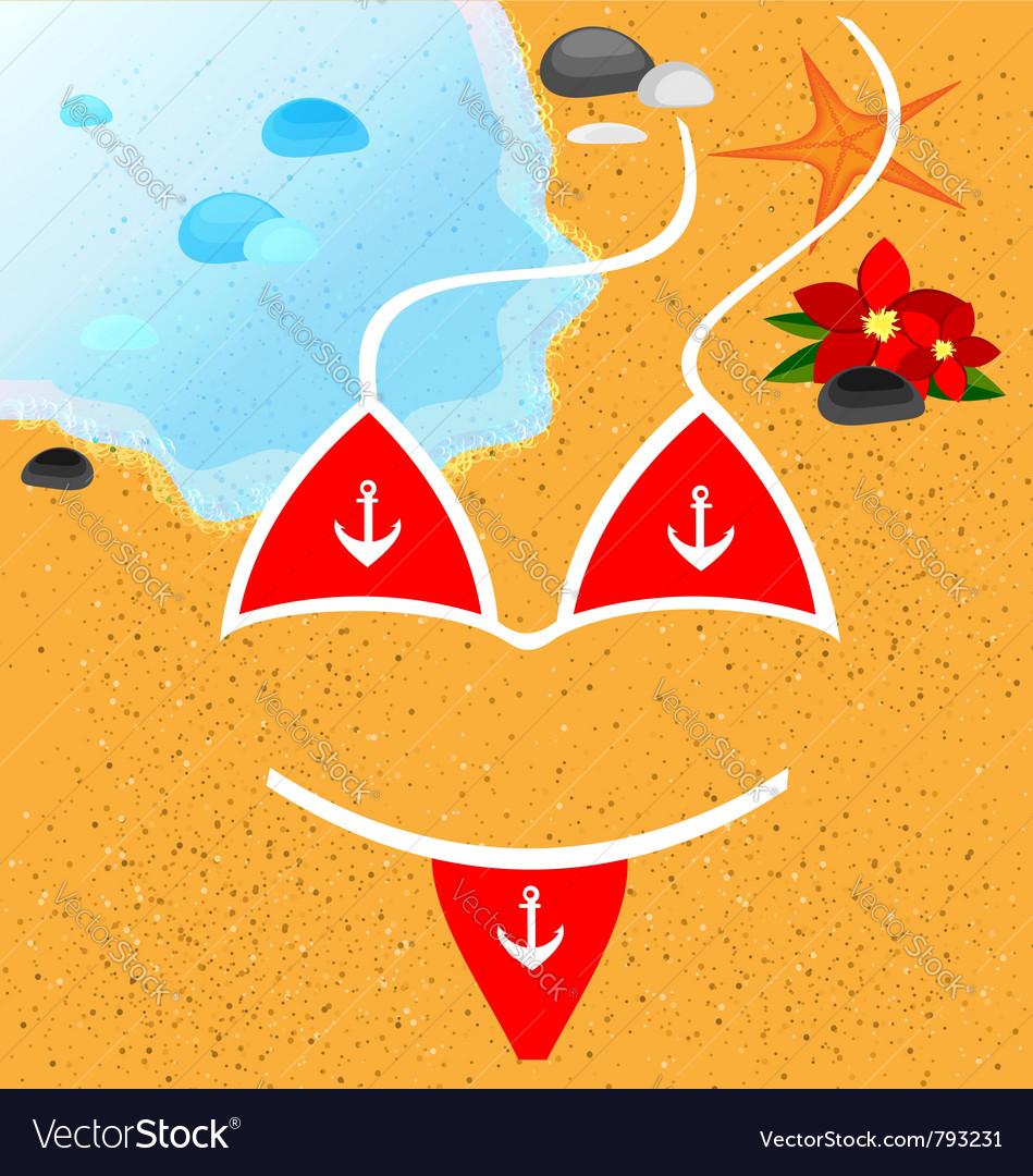Red swim bikini vector | Price: 1 Credit (USD $1)