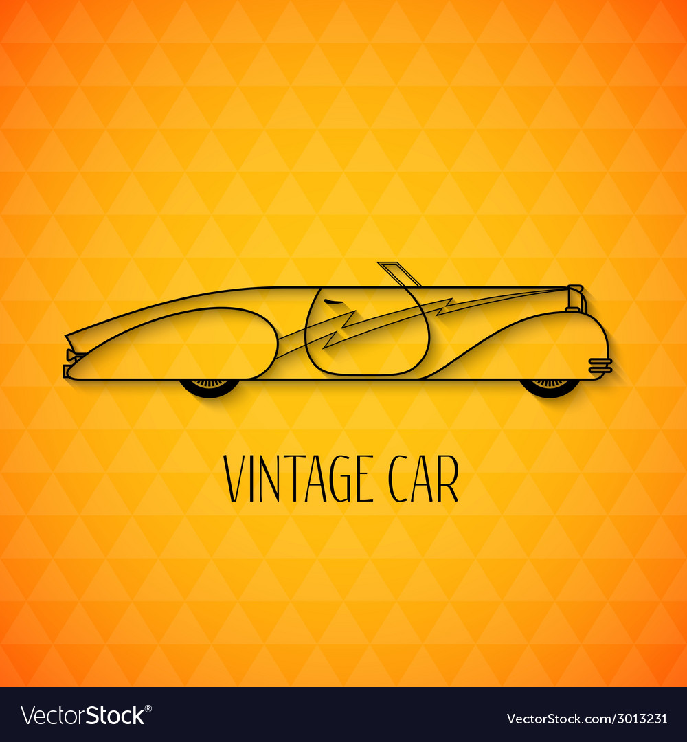 Retro cabriolet sport car vintage outline style vector   Price: 1 Credit (USD $1)