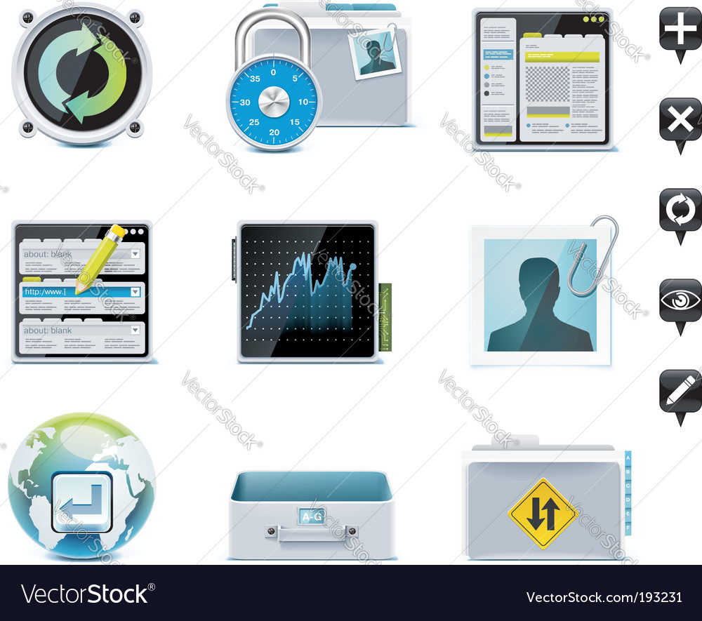 Server administration icons vector