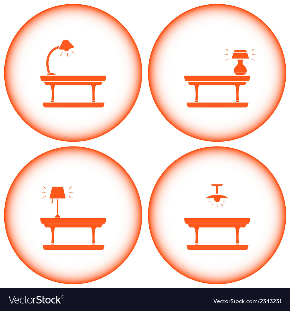 Set interior icons with table lamp vector | Price: 1 Credit (USD $1)