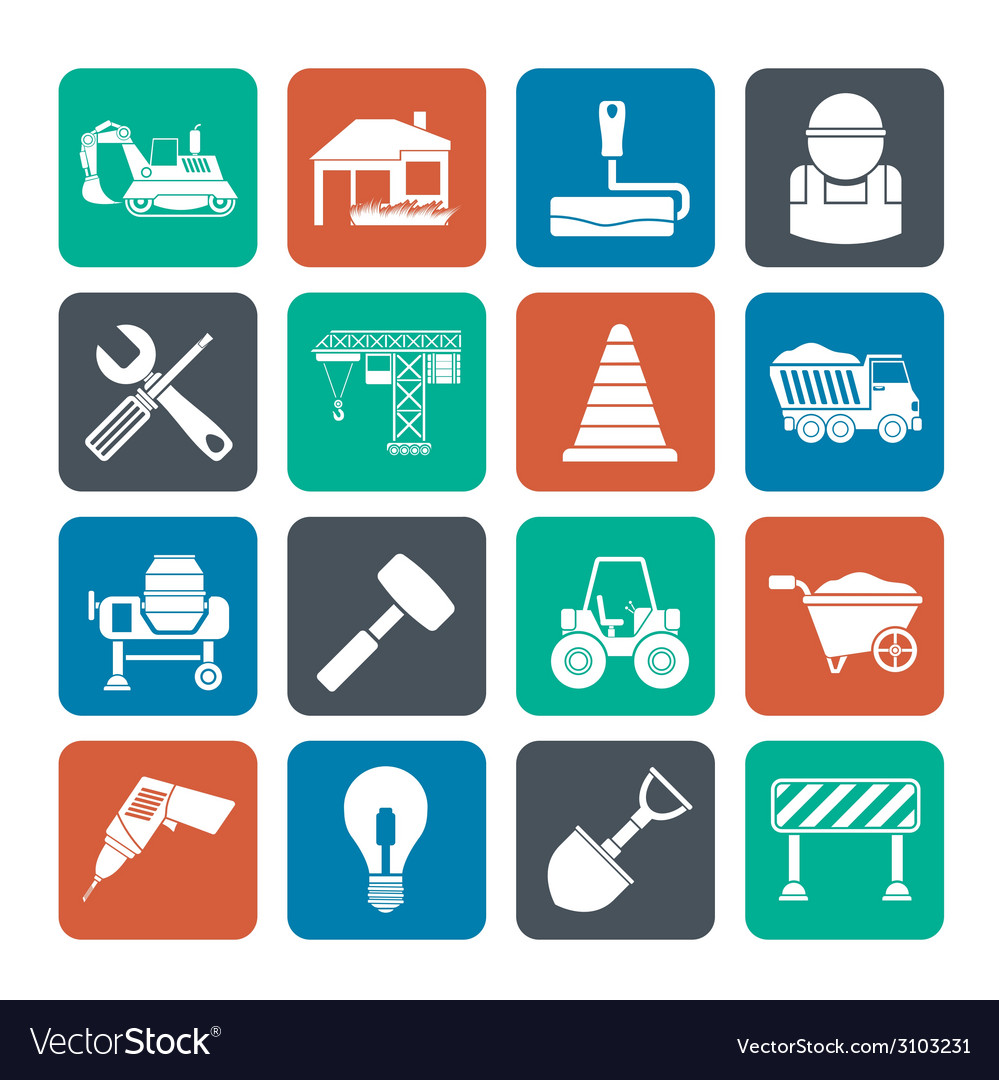 Silhouette building and construction icons vector | Price: 1 Credit (USD $1)