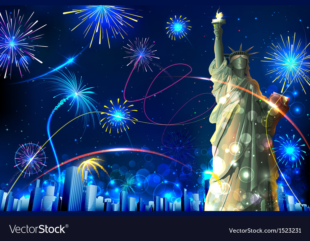 Statue of liberty on firework background vector | Price: 3 Credit (USD $3)