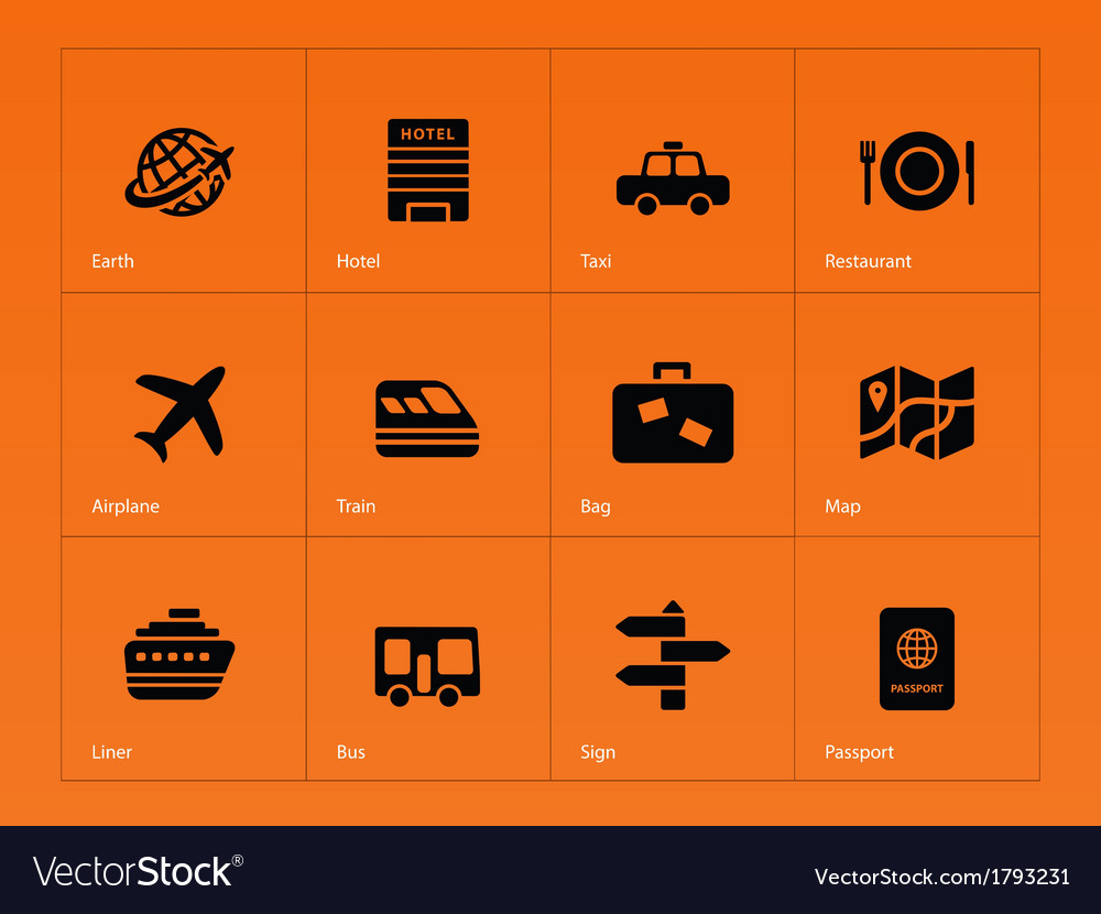 Travel icons on orange background vector | Price: 1 Credit (USD $1)