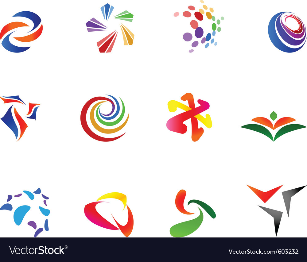 12 colorful symbols set 7 vector | Price: 1 Credit (USD $1)
