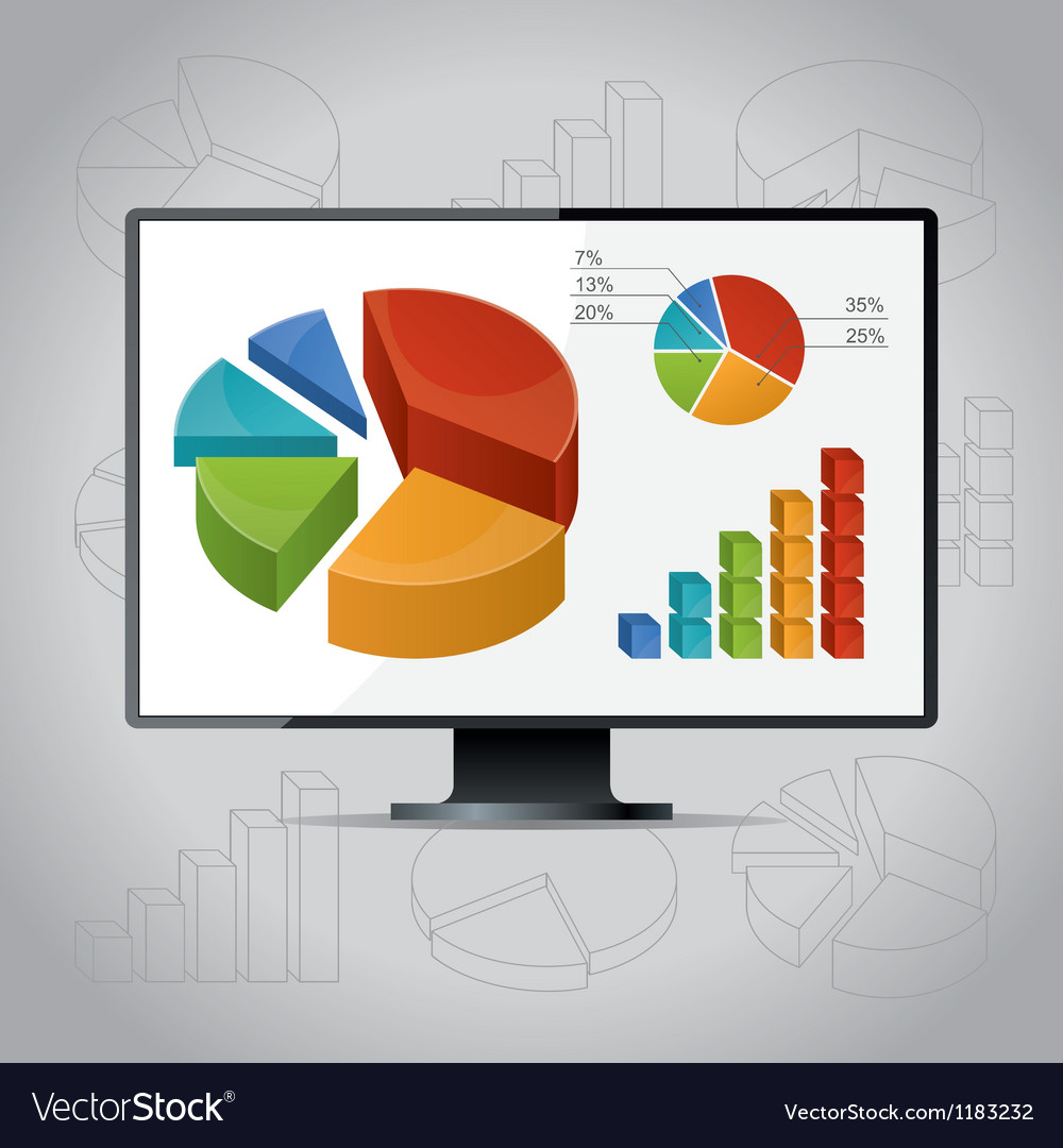 Charts on monitor vector | Price: 1 Credit (USD $1)