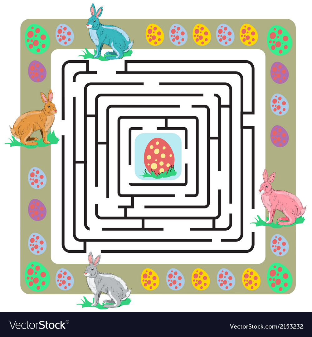 Easter maze with bunnies and eggs vector | Price: 1 Credit (USD $1)