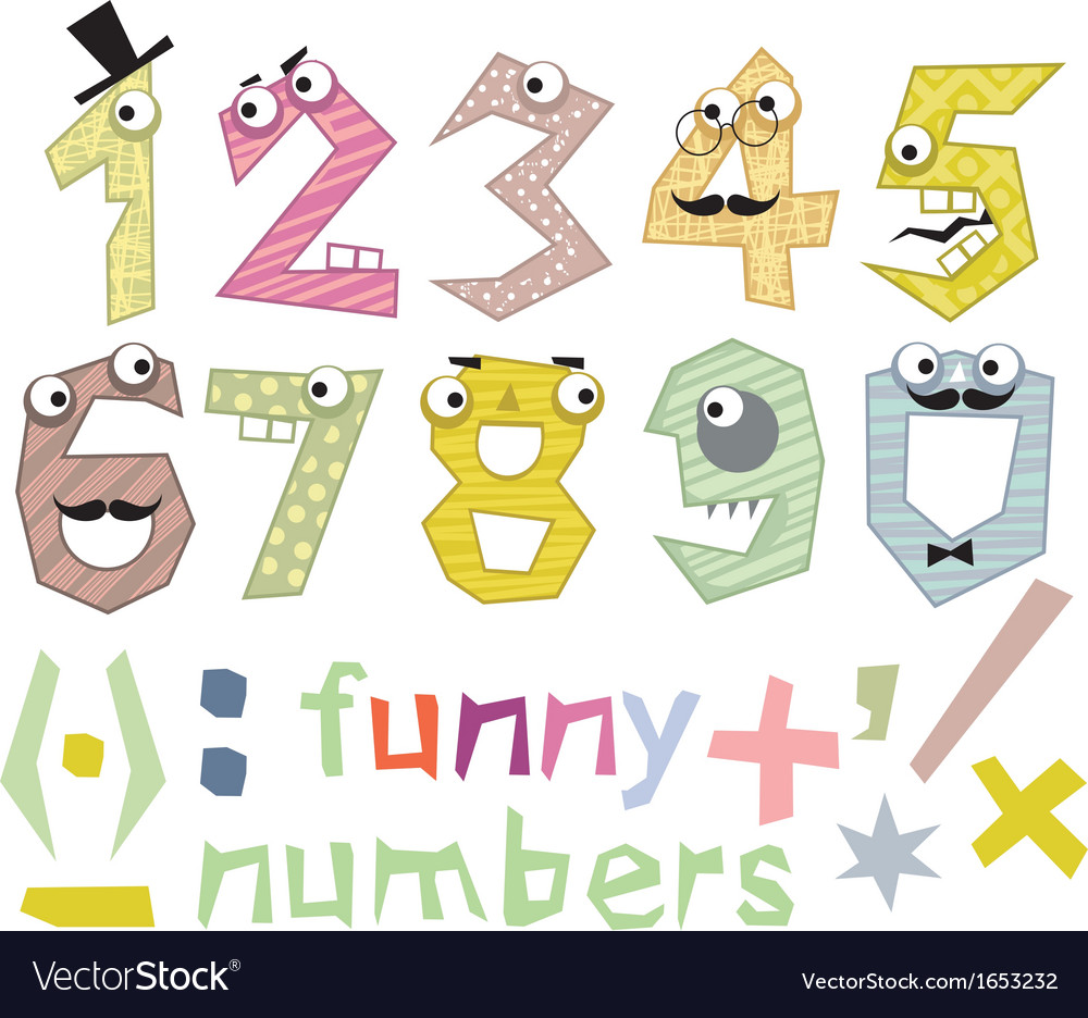 Funny numbers set vector | Price: 1 Credit (USD $1)