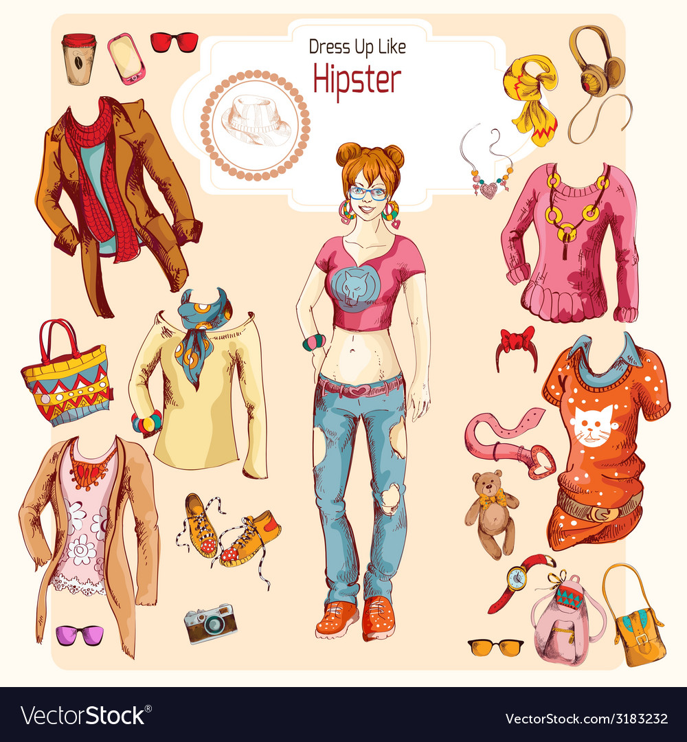Hipster girl clothes set vector | Price: 1 Credit (USD $1)