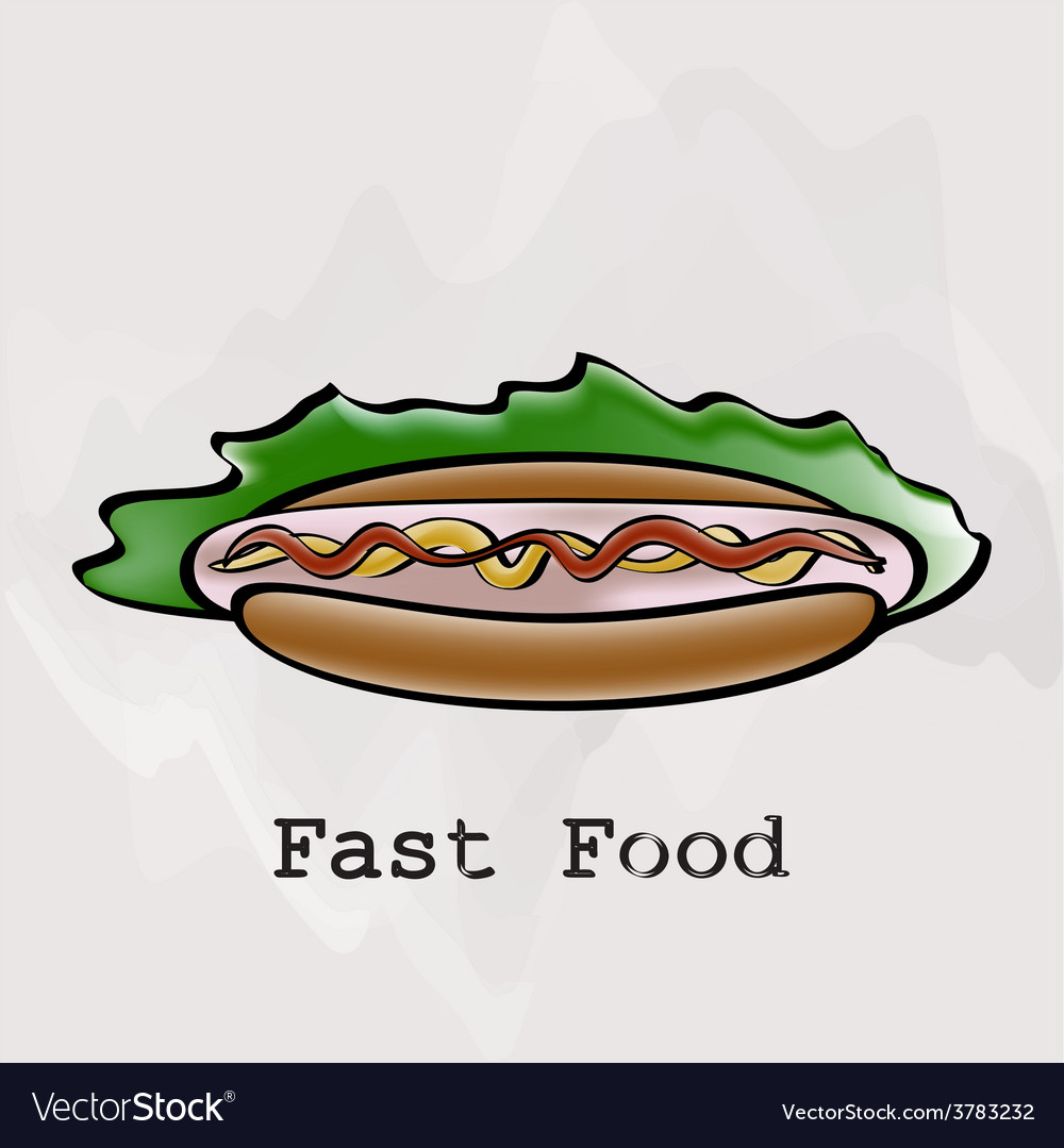 Hot dog in a watercolor style vector | Price: 1 Credit (USD $1)