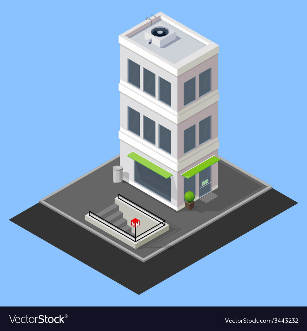 Isometric building with metro station vector | Price: 1 Credit (USD $1)