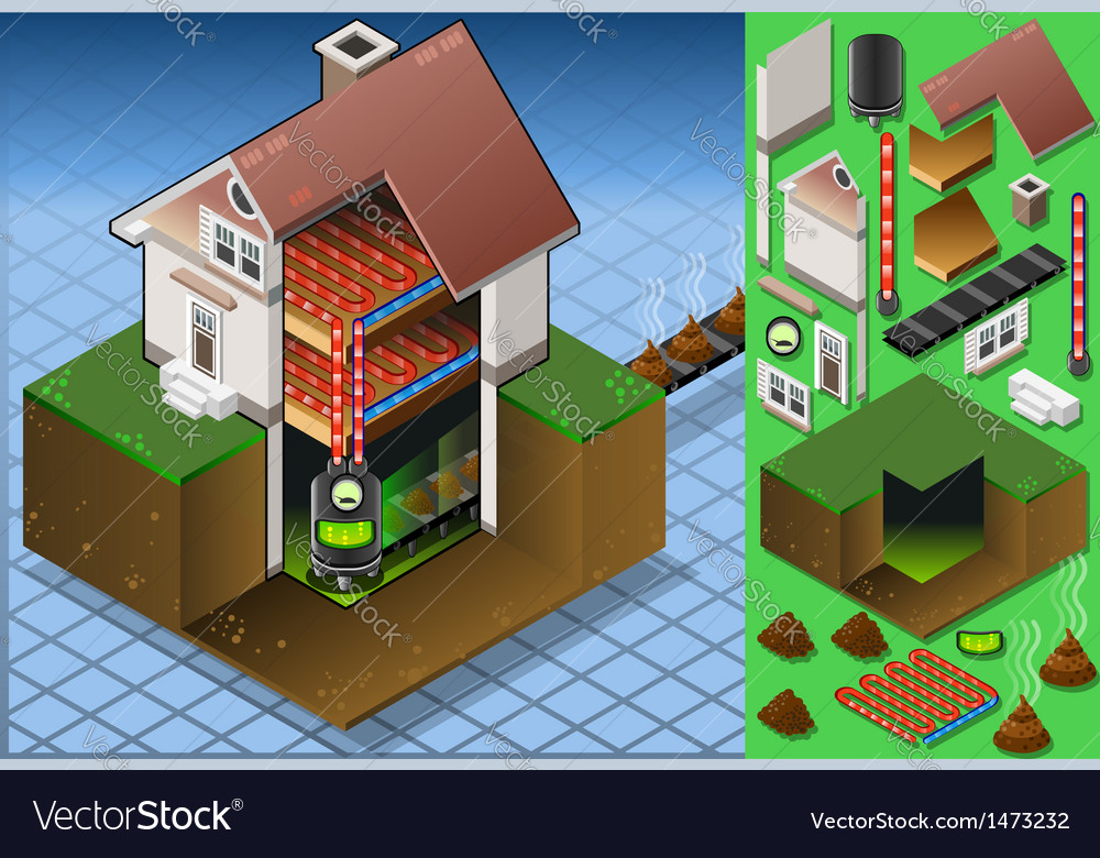 Isometric house with bio mass boiler vector | Price: 1 Credit (USD $1)