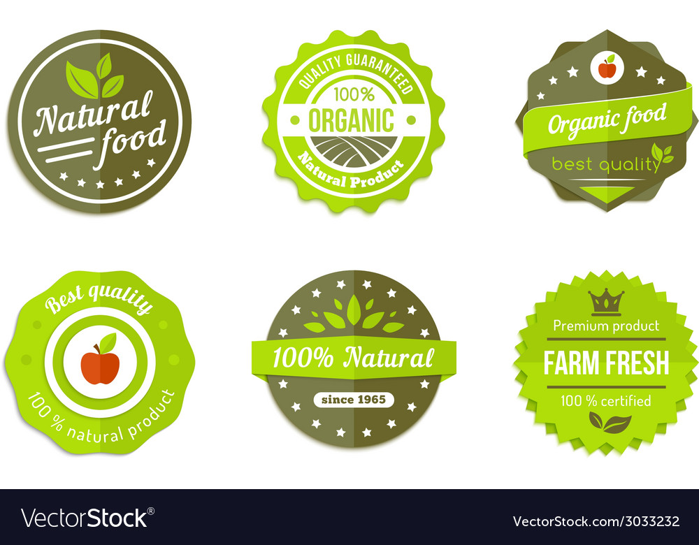 Natural badges vector | Price: 1 Credit (USD $1)