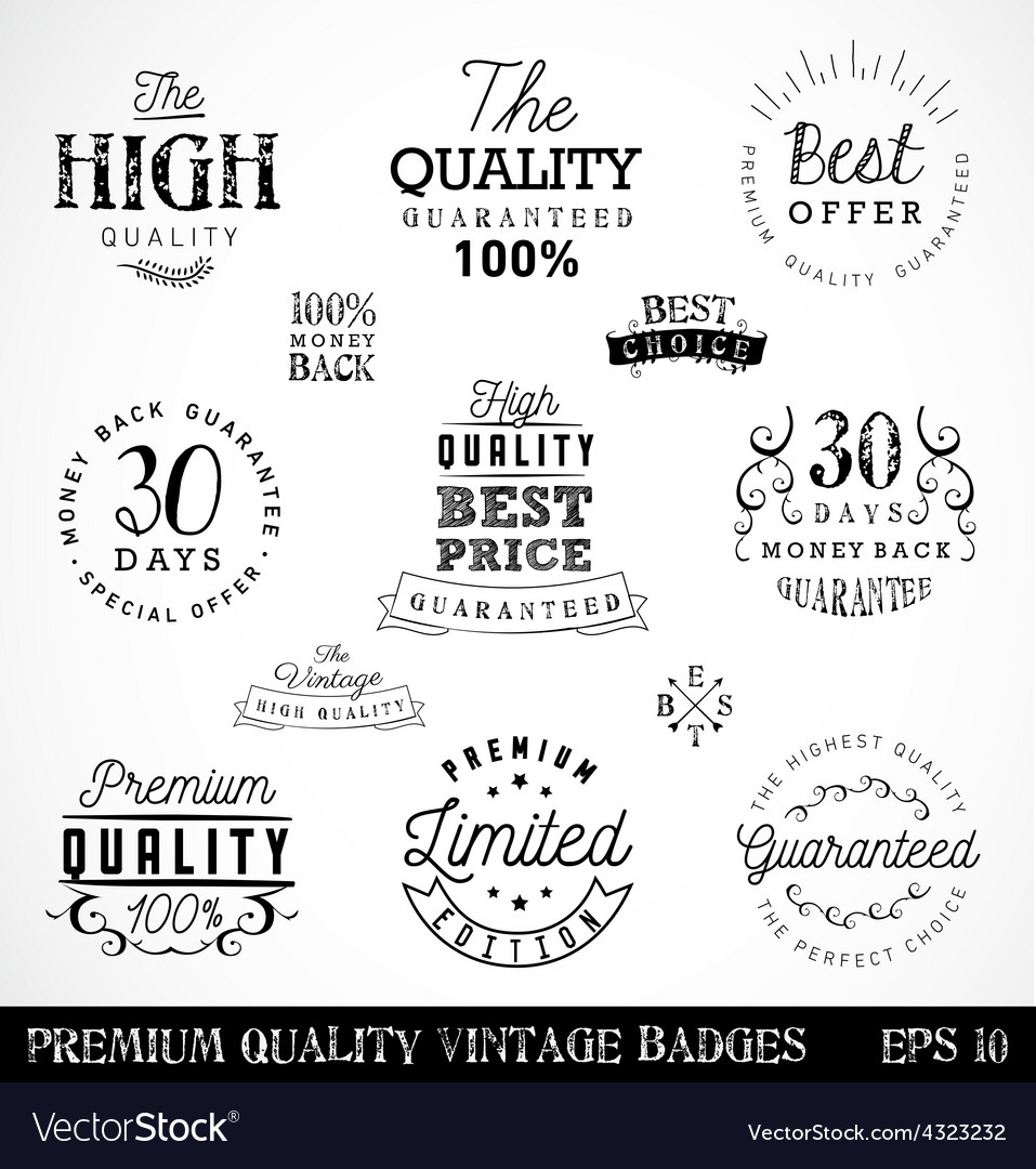 Premium quality badges and labels in vintage style vector | Price: 1 Credit (USD $1)