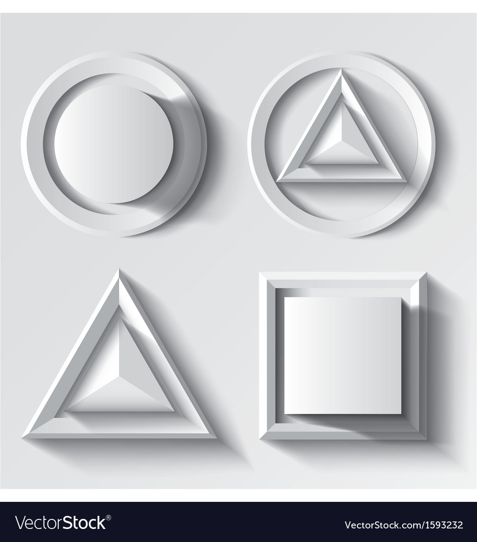 Realistic white geometrical shape set vector | Price: 1 Credit (USD $1)