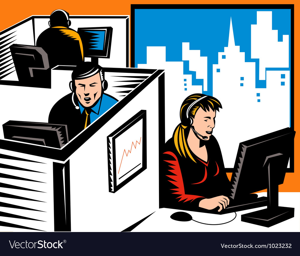 Telemarketer office worker retro vector | Price: 1 Credit (USD $1)