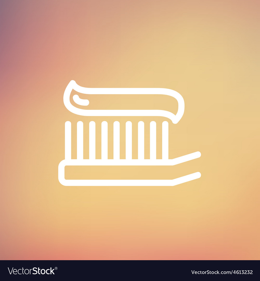 Toothbrush with toothpaste thin line icon vector | Price: 1 Credit (USD $1)