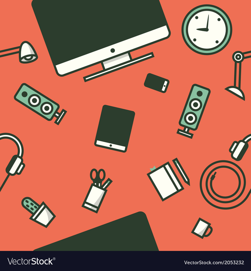 Workspace seamless pattern vector | Price: 1 Credit (USD $1)