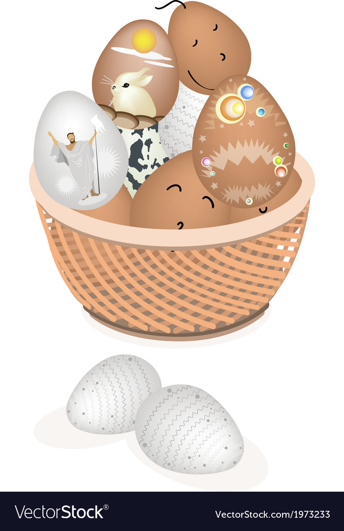Beautiful easter eggs in a brown basket vector | Price: 1 Credit (USD $1)