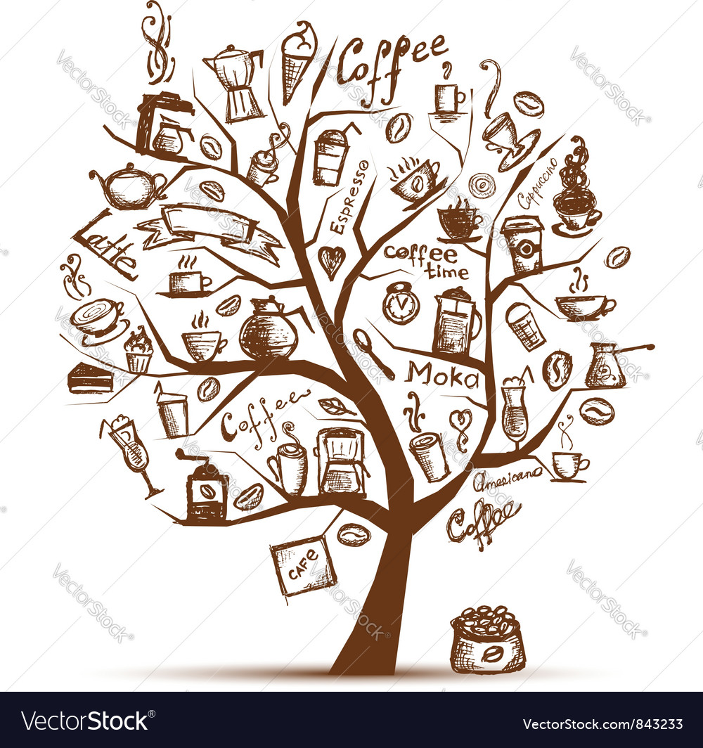 Cofee time art tree for your design vector | Price: 1 Credit (USD $1)