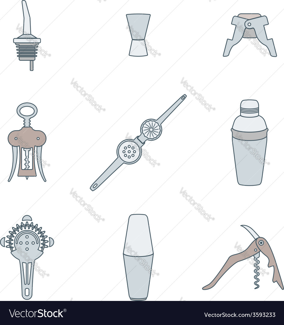 Color outline icons barman instruments set vector | Price: 1 Credit (USD $1)