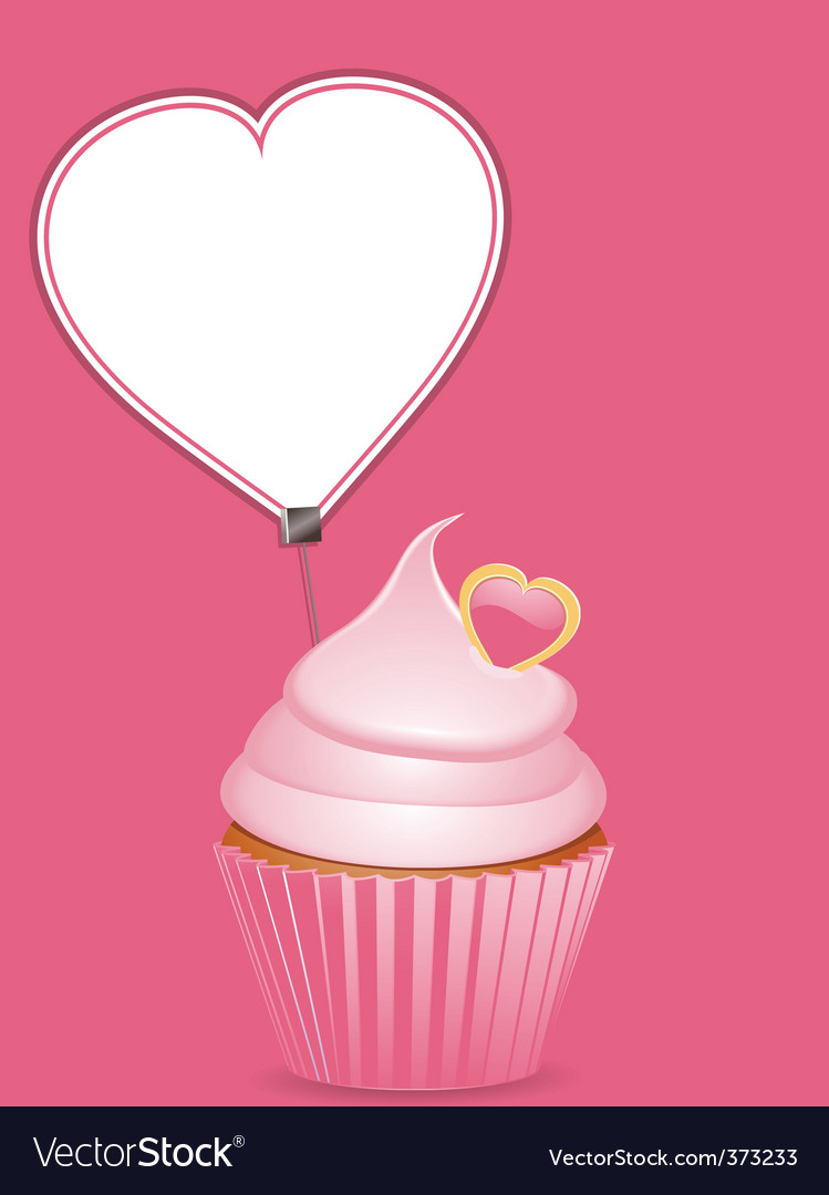 Cupcake and heart shaped label vector | Price: 1 Credit (USD $1)