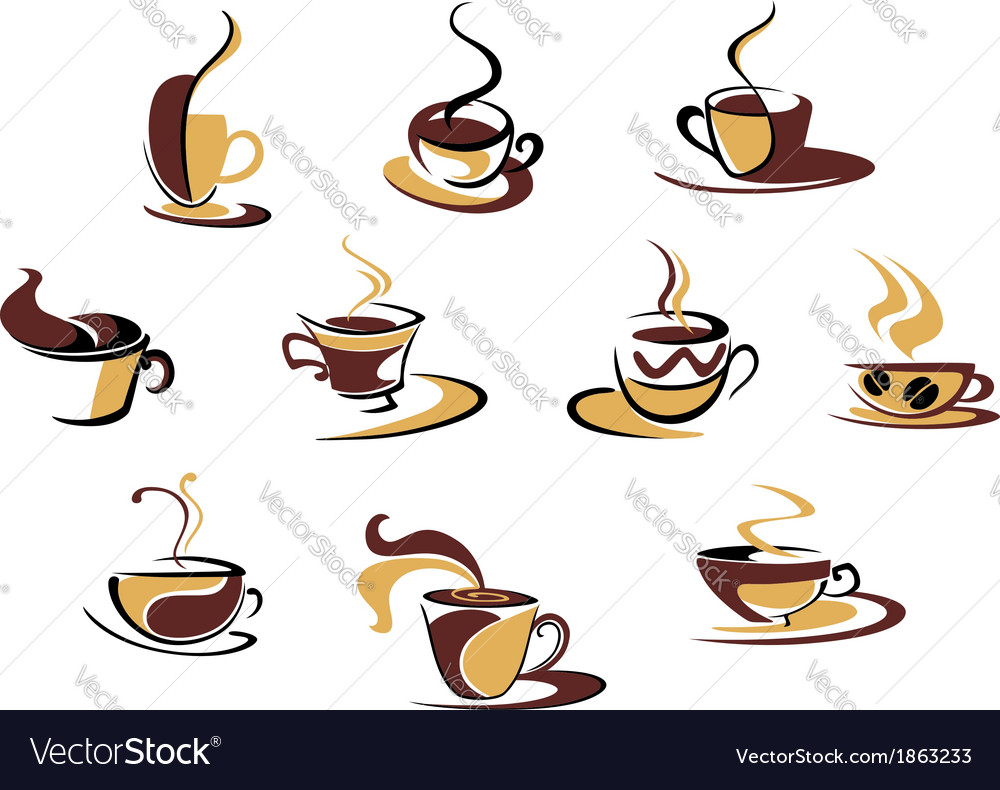 Different coffee cups vector | Price: 1 Credit (USD $1)